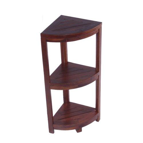 Decoteak Oasis 32-Inch Solid Teak 3 Tier Corner Shelf with Leg Levelers, Rich Dark Brown