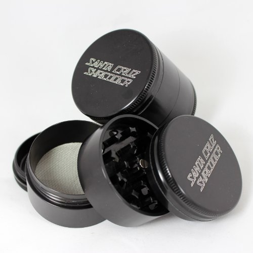 Medium Santa Cruz Shredder Black 4 Piece Grinder with a Cali Crusher® Pollen Press