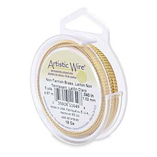 Artistic Wire 22 Gauge Twisted Non-Tarnish Brass Wire, 8 Yards