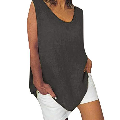 Cotton Linen Baggy Tops Womens Summer Loose Sleeveless Casual T-Shirts Blouse Dark Gray ()