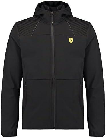 Scuderia Ferrari Herren Softshell Jacke Outdoor Übergangsjacke Kapuzenjacke Wasserabweisend Fanartikel F1Team Schwarz