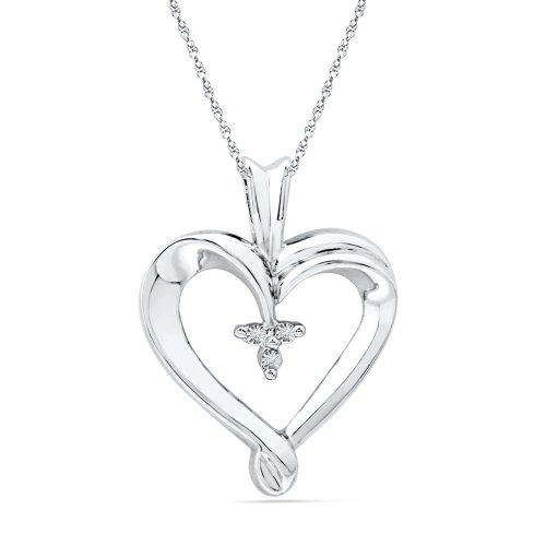 Platinum Plated Sterling Silver Round Diamond Three Stone Heart Pendant (0.015 cttw)