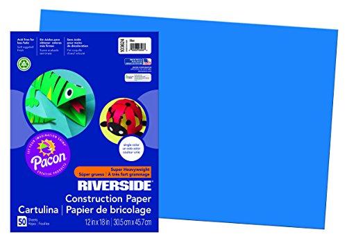 Riverside 3D Construction Paper, Blue, 12
