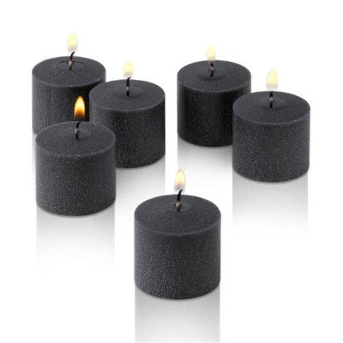 Light In The Dark Black Votive Candles - Box of 12 Unscented Candles - 10 Hour Burn Time - Candles for Weddings, Parties, Spas and Decorations