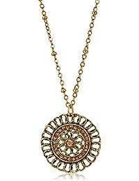 Velvet Choker with Gold-Tone Pendant Necklace