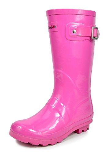 Arctiv8 KORIGIN Kids Rubber Outdoor Waterproof Pull On Rain Boots New, Pink Gloss, Size 11 M US Little Kid