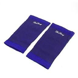 Pair Adult Strips Print Blue Black Stretchy Sleeve Leg Thigh Support Brace