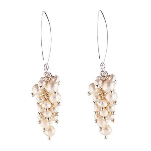 Silverly Women's .925 Sterling Silver Cultured Pearl Grape Cluster Dangle Earrings