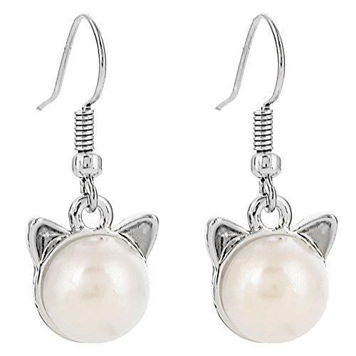 RUXIANG Pearl Animal Head Cat or Dog Hook Dangle Ear Earring Jewelry (silver) - Cat Head Earrings