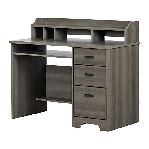 South Shore Traditional Hutch - South Shore 12108 Versa Computer Desk with Hutch, Gray Maple