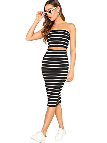(SheIn Women's 2 Pieces Striped Crop Bandeau Top and Split Skirt Cotton Set Black)