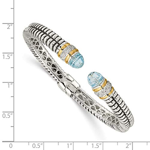 IceCarats 925 Sterling Silver 14k Sky Blue Topaz Diamond Cuff Bracelet Gemstone Bangle Hinged by ICE CARATS (Image #3)