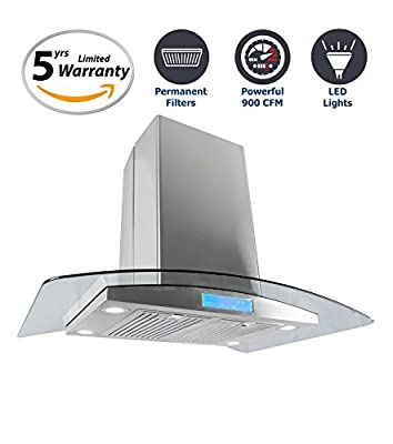 Cosmo 36 in. 900 CFM Ducted Island Range Hood with with Tempered Glass Visor, LCD Display Touch Control Panel Island Mount Kitchen Vent Cooking Fan Range Hood with Permanent Filters and LED Lighting