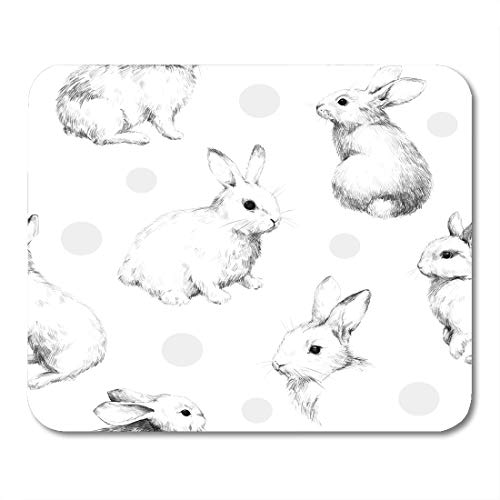 ray Bunny Drawing Rabbits Collage Cute Fuzzy Pattern Pencil Sketch Circles Black Mouse pad 9.5