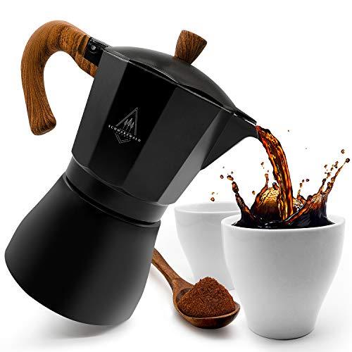 Schwarzwald Spirit Cafetera espresso con 2 tazas de espresso, de aluminio, para 6 tazas, color negro, 6 tazas