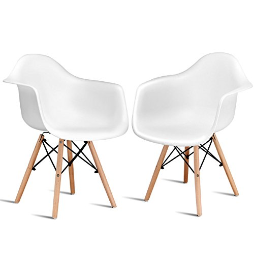 Giantex Set of 2 Mid Century Modern Molded Style Dining Arm Chair Wood - Living Chair Outdoor Room