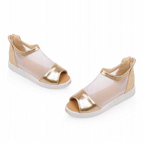 Carolbar Womens Moda Casual Voile Mesh Cerniera Comfort Estate Stivali Zeppe Sandali Oro