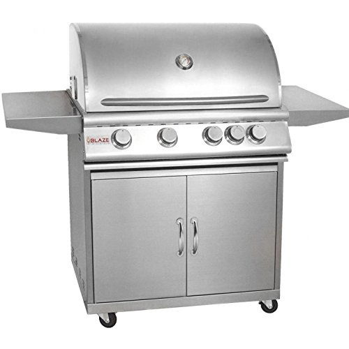 Freestanding Natural Gas Grill - Blaze 32-Inch 4-Burner Freestanding Natural Gas Grill With Rear Infrared Burner - BLZ-4-NG