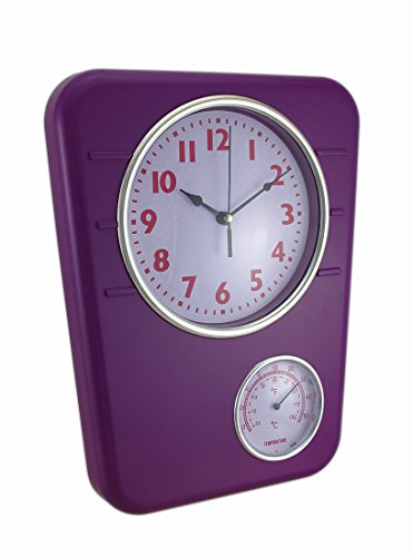 Zeckos Plastic Outdoor Clocks Bright Purple Wall Clock With Temperature Display 9.75 X 12.5 X 1.5 Inches Purple by Zeckos