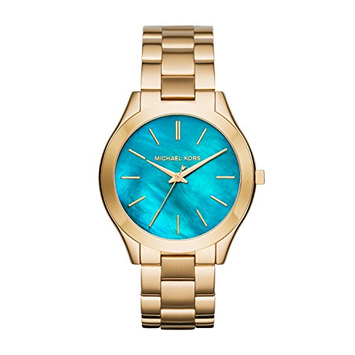 Michael Kors Slim Runway Blue MOP Dial Gold-Tone SS Quartz Ladies Watch MK3492