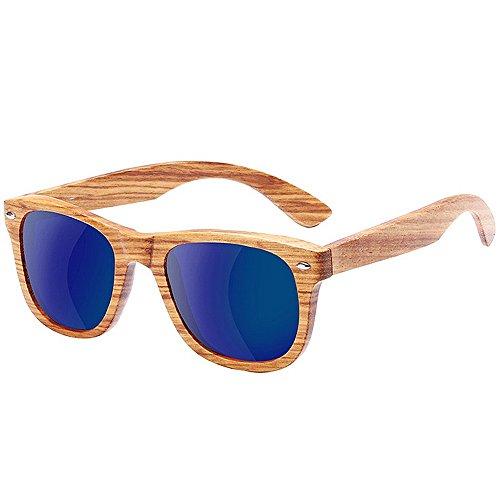 Dos Color Madera patrón Grano Sol de Madera de Gray de Tonos UV400 Madera de Azul TP Gafas Lente Efecto Brillante de de de Espejo q0w1II