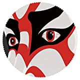 iPrint American Round Tablecloth [ Kabuki Mask Decoration,Japanese Drama Kabuki Face with Dramatic Eyes Cultural Theater,Black White Red ] Fabric Home Tablecloth Design