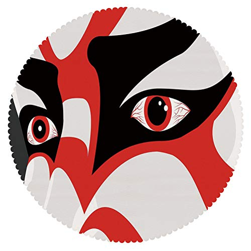 iPrint American Round Tablecloth [ Kabuki Mask Decoration,Japanese Drama Kabuki Face with Dramatic Eyes Cultural Theater,Black White Red ] Fabric Home Tablecloth Design by iPrint