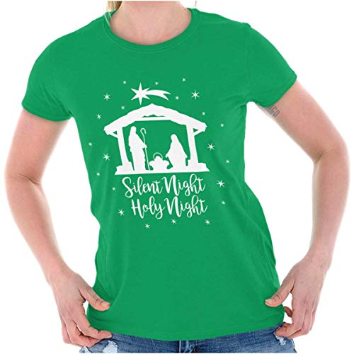 (Silent Night Holy Jesus Christ Christmas Ladies T Shirt Irish Green)
