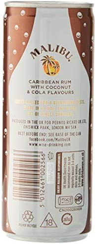 Malibu Bebida y Cócteles Premezclados & Cola Lata 5º, 250 ml ...