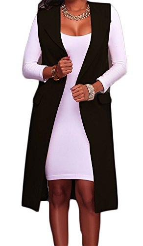 Hestenve Women's Solid Lapel Long Suit Waistcoat Vest Trench Coat Sheath Cardigan Jacket Black Large ()
