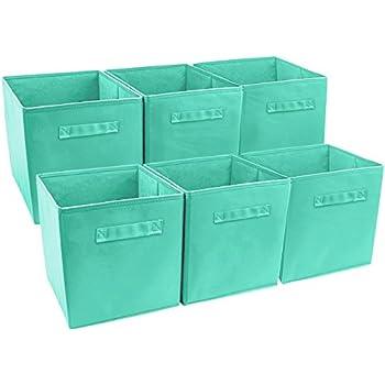 Sorbus Foldable Storage Cube Basket Bin (6 Pack, Teal)