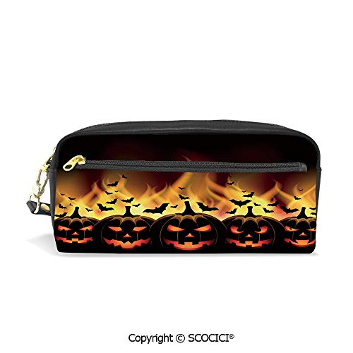 Printed Pencil Case Large Capacity Pen Bag Makeup Bag Happy Halloween Image with Jack o Lanterns on Fire with Bats Holiday Decorative for School Office Work College Travel