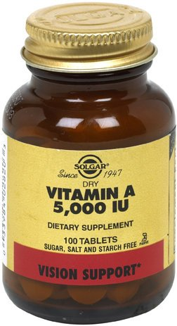Solgar Dry Vitamin A 5000 IU Tablets 100 Count