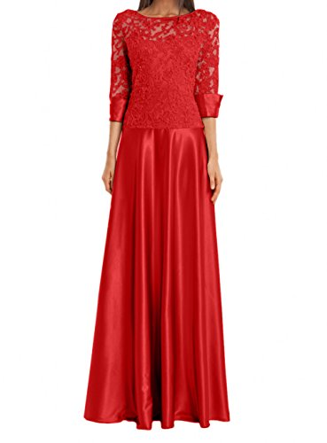 Rot Promkleider linie Bodenlang A Abendkleider Rosa Damen Rock Satin Spitze Brautmutterkleider Charmant UYPwTqU