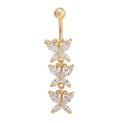 Fashion Women Body Piercing Jewelry 14G Hypoallergenic Stainless Steel Cubic Zirconia Belly Button Ring Navel Rings Crystal Triple Butterfly Dangle Gold With Diamond White ()