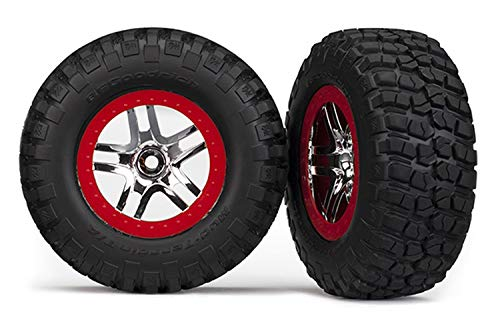Traxxas 6873A B.F. Goodrich KM2 Tires on Red Short Course Wheels, Slash 4X4 ()