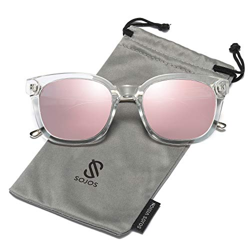 SOJOS Classic Polarized Sunglasses for Women Men Mirrored Lens SJ2050 with Transparent Frame/Pink Mirrored Polarized ()