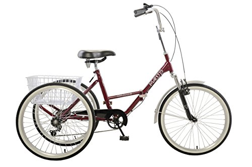 Mantis Tri-Rad 24 Burgundy Adult Folding Tricycle