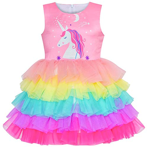 Girls Dress Pink Unicorn Ruffle Rainbow Cake Skirt