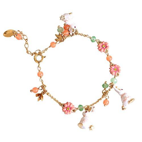 Designed 14k Gold Butterfly Charm - Ladies Exquisite Handmade Enamel Bracelet Hanging Rabbits,Vivid Charms for Women, Vintage Real Gold