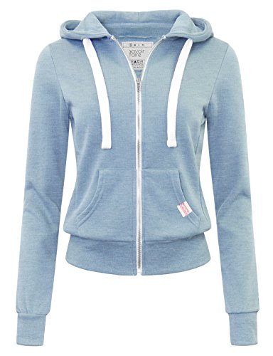 savoir faire Basic Zip-Up Hoodie Dusty Blue - Fashion Faire