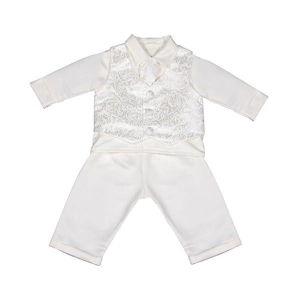 Vivaki - Completino da bebè, per il battesimo, colore: bianco 1