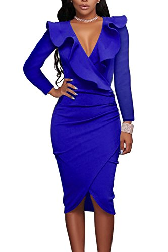 Bodycon Profunda De De V De Azul Mujer Manga Sólido Larga Elegante Vestido Volantes Asimétricos Hw74Yxaq