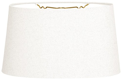 Royal Designs Shallow Oval Hardback Lamp Shade, Linen White, 12 x 14 x 8.5