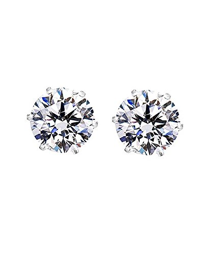 Round Cut Clear CZ Stainless Steel Men Magnetic Stud Earrings No Piercing 7mm