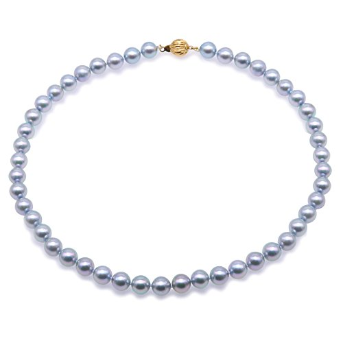 JYX Akoya Pearl Necklace AAAA Quality 18K Gold 9-9.5mm Natural Gray Round Akoya Cultured Pearl Strand Necklace