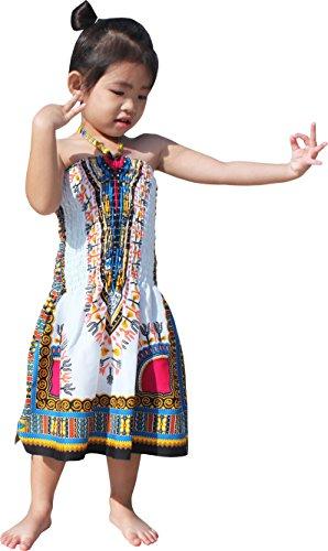 Raan Pah Muang RaanPahMuang Brand Dress Halter Dashiki White African Child Smock Chest Strap, 3-6 Years, Azure Blue (Strap Smock)