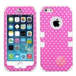 MYBAT Pink Vintage Heart Dots/Solid White TUFF Hybrid Phone Protector Cover compatible with Apple iPhone 5/5s