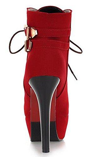 Idifu Donna Piattaforma Sexy Tacchi A Spillo Tacco Alto Stivaletti Allacciati In Finta Pelle Scamosciata Martin Stivaletti Rosso