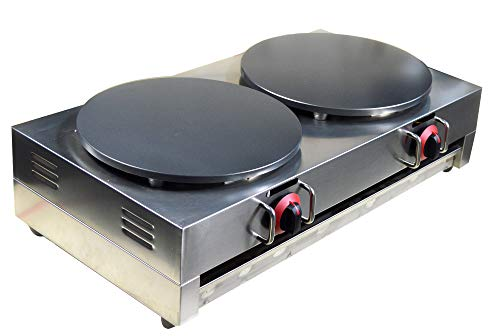 Intbuying LP Gas Crepe Machine Griddle, Commercial Plate Crepe Machine Snack Machine Hot Plate (Double plates)#134042 by INTBUYING (Image #2)